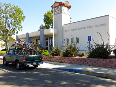 Truck loaded with bikes for Pedal Power in front of Fesler Junior High in Santa Maria