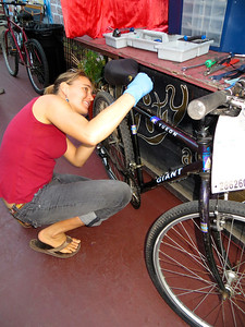 Erika working on a seat post: THANK YOU!