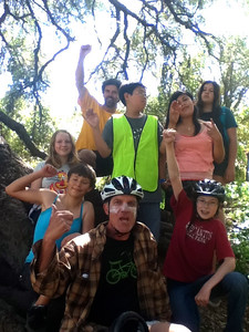 Pedal Power (group photo under a tree)