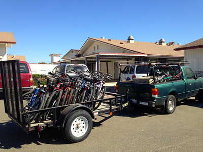 Trailer loaded with 14 bikes