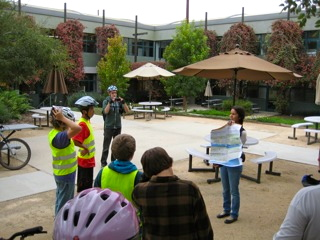 Lori La Riva at Traffic Solutions talking to the group about the Bike map