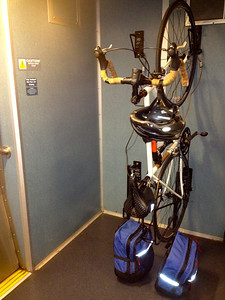 Bike in the train. Destination: Union Station in Los Angeles