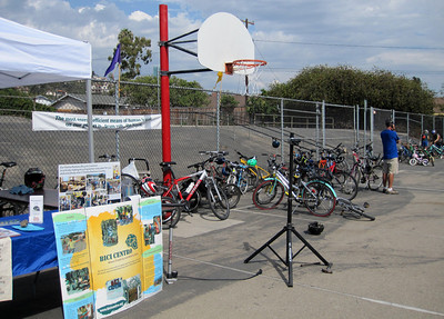 Many riders got a free drink for riding their bike to the Eco-carnival