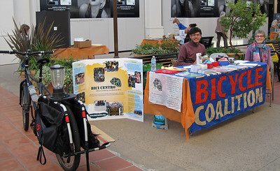 The Santa Barbara Bicycle Coalition & Bici Centro have a table at the Kids Expo. Ricky brought the new bike blender