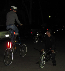 Ed on a tall bike and Robert on a lowrider bicycle