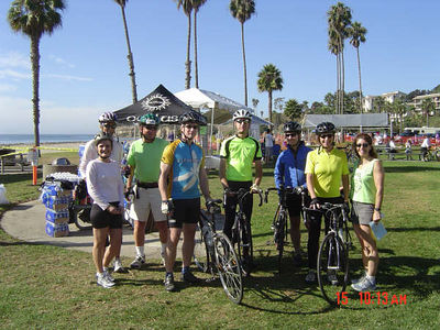 Ready to start the 30 mile ride (from Right to Left: Catherine, Christine, Roland, Dave, Craig and other team members)