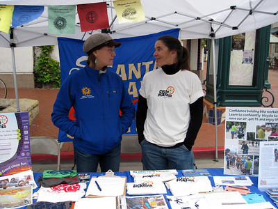 Erika and Nancy at the booth for the Santa Barbara Bicycle Coalition/Bici Centro