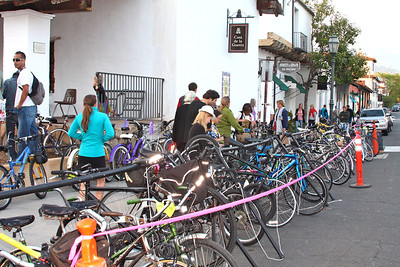 Bike valet (Casa de la Guerra) provided by the Santa Barbara Bicycle Coalition