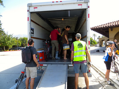 Loading the truck with 30 bikes