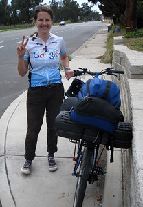 No pannier (backpack strapped on a rack)