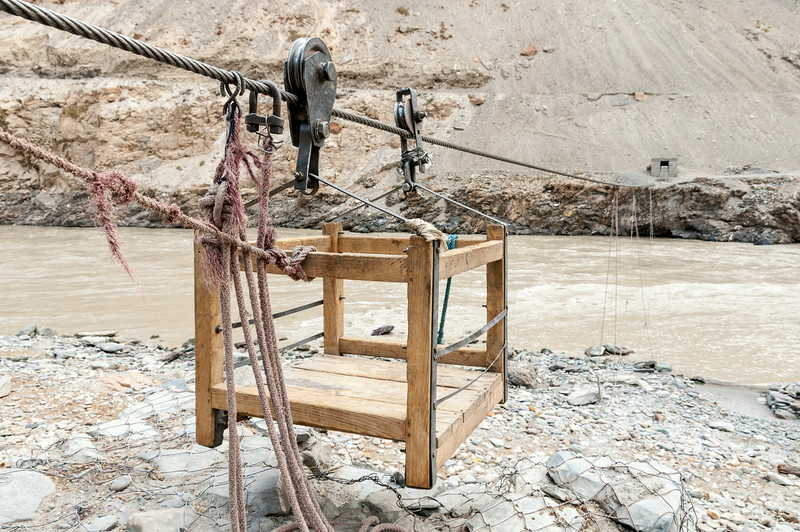 Box Pulley across the Zanskar River near Chilling