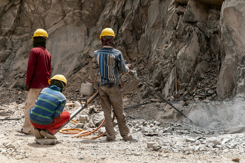 Rock drillers along the Zanskar Valley