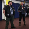 HOLLY PELCZYNSKI - BENNINGTON BANNER Bikers, Stumpy and Ripley talk about their experiences being a part of Bikers against Child Abuse biker group and how they protect children ages 3 years old to 18 years old, on Wednesday afternoon while speaking at the Bennington Fire Department.