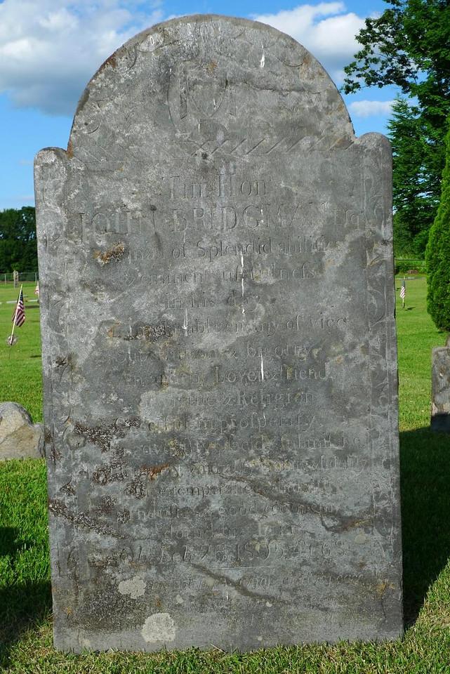 The hon. John Bridgman's tombstone