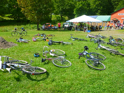 Bikes resting at the lunch stop