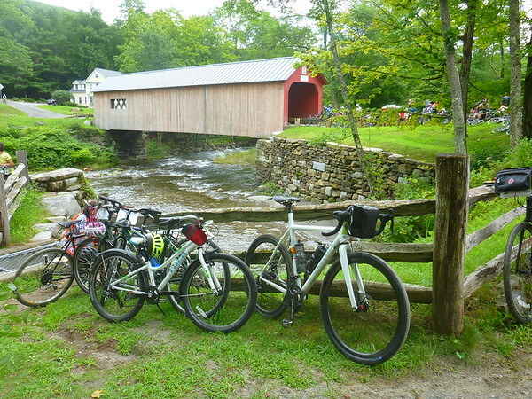 Bikes in front of the Green River Covered Bridge