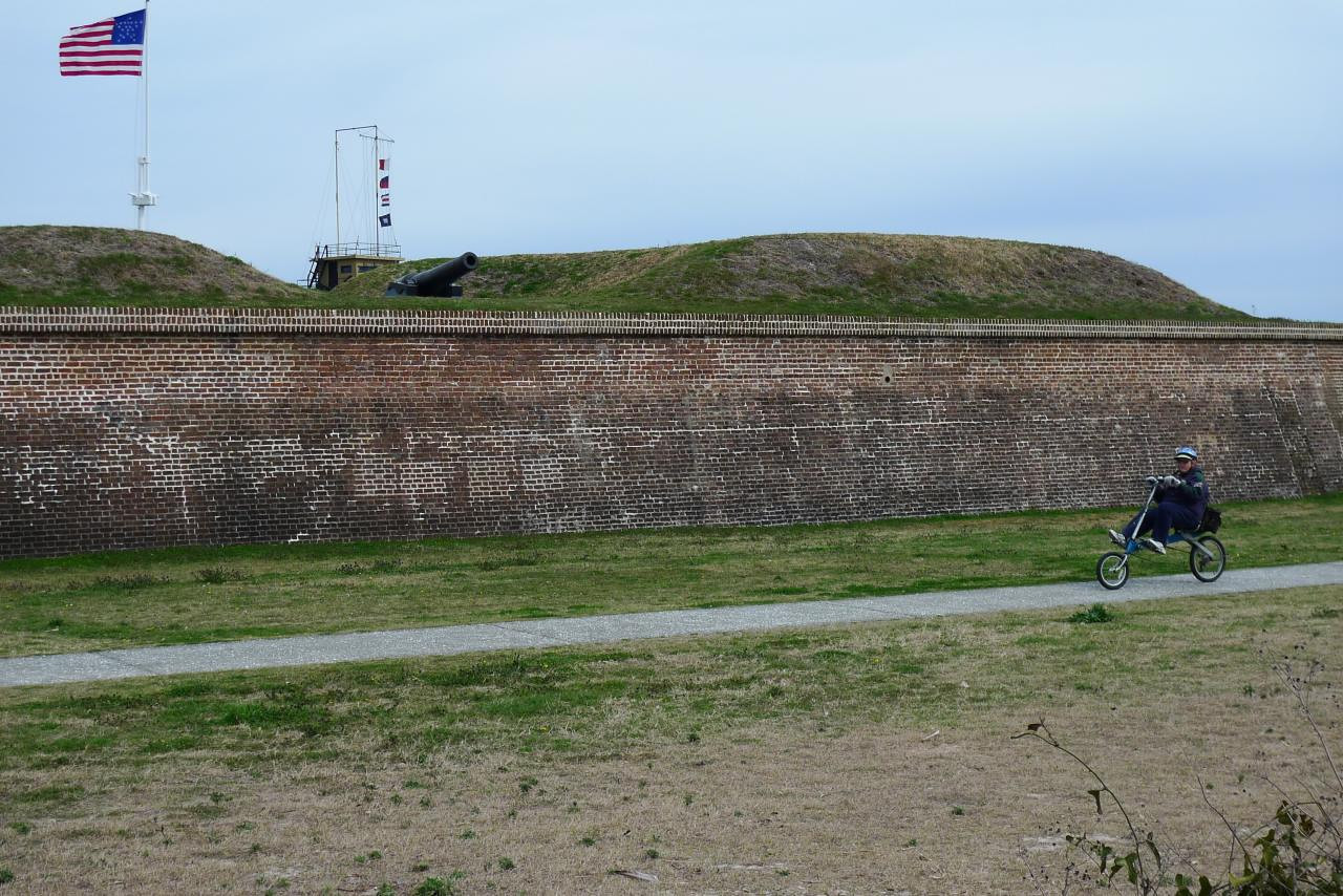 Recumbent in front of Fort Moultrie