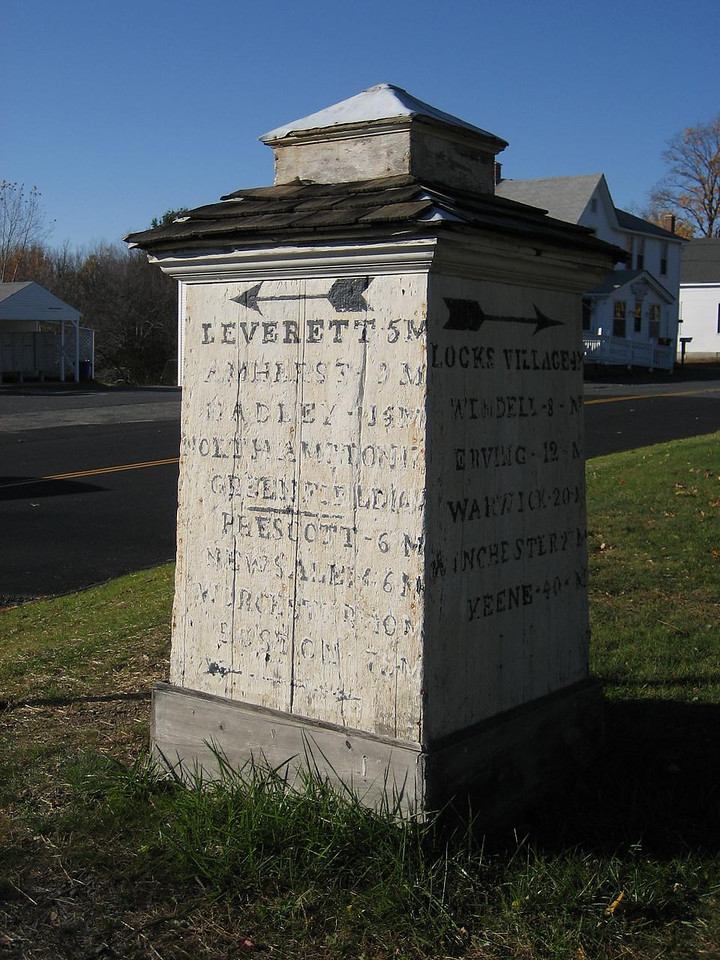 An old mile marker in Shutesbury