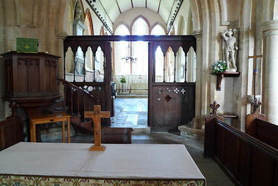 Altar, screen, and chancel