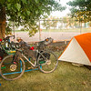 Lots of bikes and tents and last-minute preparations in Camp Beiseker on Friday night.