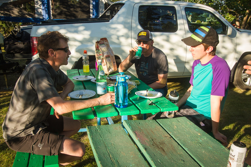 Guy, Jeff and Neil, sitting around in Camp Beiseker the night before the race