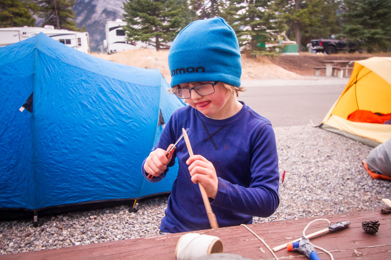 A S24O to Tunnel Mountain Campground, lots of carving sticks and making squirrel traps.