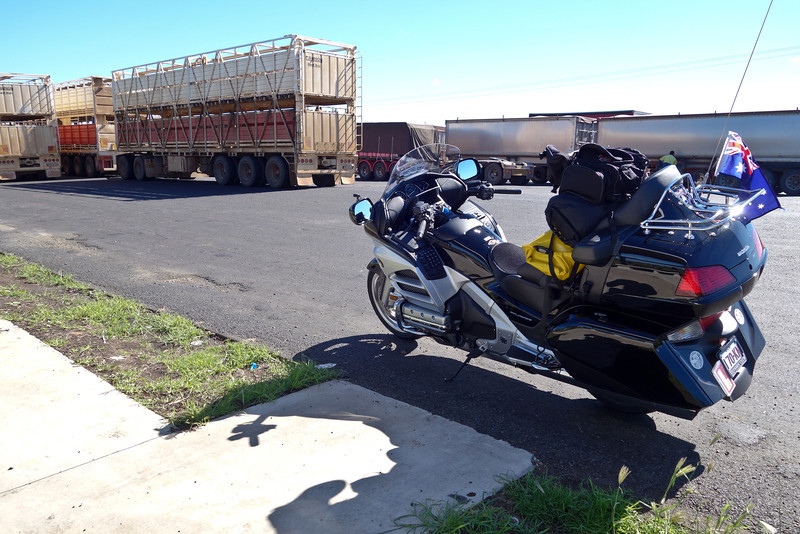 Monday 5th May 2014 10:45AM: On the road to Alice Springs! Left Brisbane at about 8:00am, heading for Alice Springs and the Ulysses MC AGM, 3,000km away! Stopped at this roadside rest area, west of Toowoomba, to have a cup of coffee. Lots of roadtrain trailers here waiting to be picked up (as roadtrains cannot travel further east than Toowoomba).