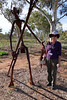 Friday 16th May 2014 3:45PM: Sue standing near a statue in the Olive Pink Botanic Gardens in Alice Springs (a 15-minute walk from the CBD). The gardens are dedicated to growing Australian-only flora, mostly from the local surrounding countryside.