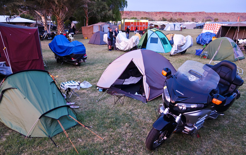 Saturday 17th May 2014 7:00AM: Another frosty dawn breaks over the campgrounds at at Blatherskite Park (located about 5.3km south of Alice Springs CBD, was the Ulysses main event site, and the primary camping area for Ulysses members attending the AGM). Today is the Grand Parade, in which thousands of Ulyssians and their motorcycles will, as a very large single group, parade through the Alice Springs CBD and suburbs.