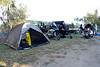 Thursday 8th May 2014 07:30AM: On the road to Alice Springs! Yesterday travelled 487km from Roma to Blackall. Spent last night in Blackall at the Blackall Caravan Park (this photo) (the only caravan park in town). Many other Ulysses members and their bikes also spent the night here.