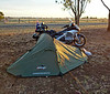 Tuesday 6th May 2014 06:30AM: On the road to Alice Springs! Camped at Roma on Monday night, in the grounds of the Roma Gun Club ($10/night). The camp caretaker, Harry, told me all about an old 1100cc Goldwing he was restoring! Travelled 477 km from Brisbane to Roma.There was a cold snap sweeping through the area, and last night was bloody freezing!!