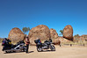 """Saturday 10th May 2014 1:00PM: On the road to Alice Springs! Hugh standing near the bikes at the Devils Marbles (""""Karlu Karlu"""" - which translates as """"round boulders""""),105 km south of Tennant Creek and 393 km north of Alice Springs. The Devils Marbles are of great cultural and spiritual significance to the traditional Aboriginal owners of the land (the Warumungu, Kaytetye, Alyawarra and Warlpiri people), and they are one of the oldest religious sites in the world."""