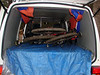 Muddy bikes in the back of the van