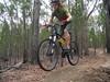 Megan heading over one of the little jumps on the Beechworth course's cross country loop