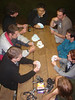 Playing cards in the shelter (Mark, David, Matt, Ed, Shaun?, Justin, Kate and Alex)