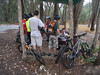 Hiding under the shelter from the rain at the Beechworth Mountainbike Park