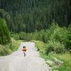 Megan biking south on the Powderface Trail