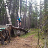 <b>1 June 2012</b> Biking the Prospector (Julie playing on one of the features)