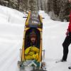 <b>22 March 2013</b>  Snow biking Goat Creek - Chariot time!