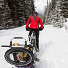 <b>22 March 2013</b>  Snow biking Goat Creek - Heading off through the ever-deepening snow