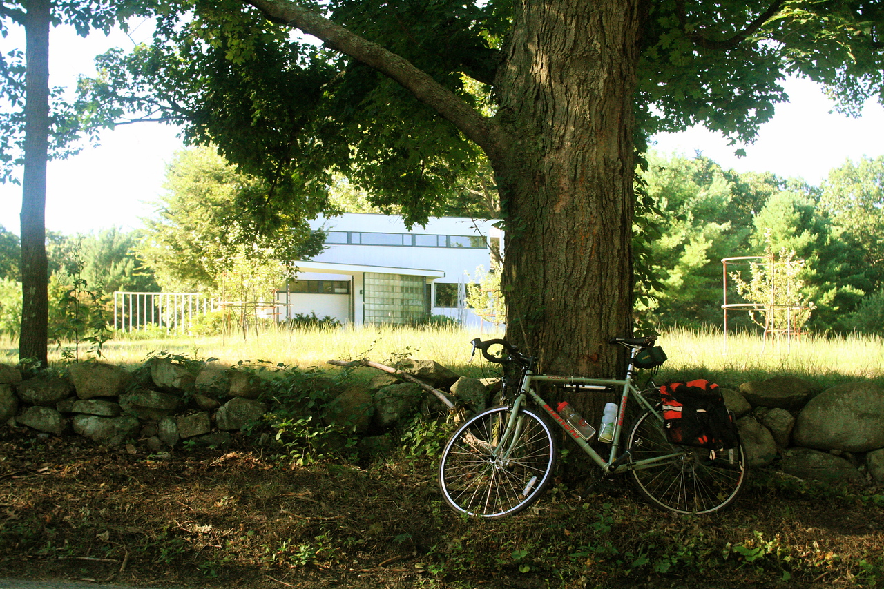 "Early one morning, while taking the 25-mile ""scenic route"" to work.  The structure in the background is the Gropius House, in Lincoln, MA."