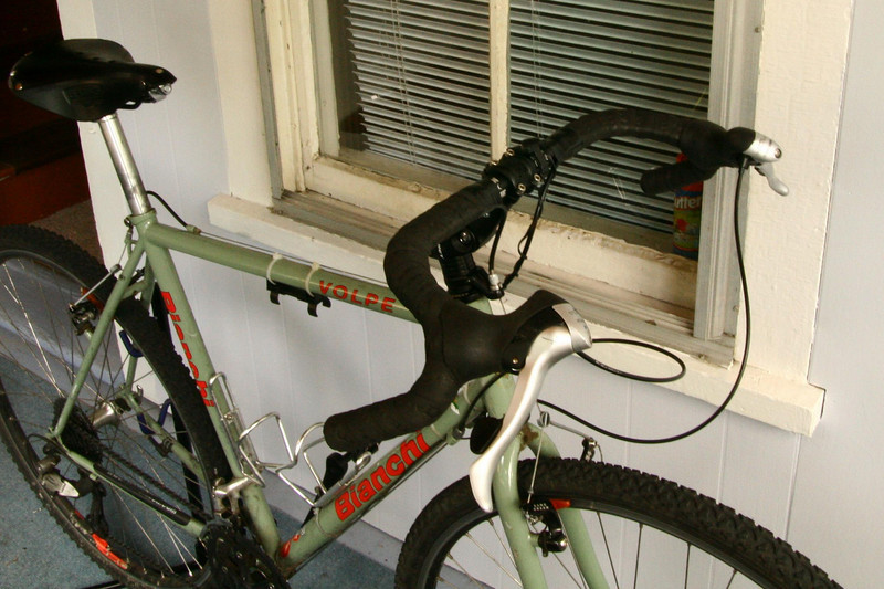 "New On-One ""Midge"" handlebar for the Volpe.  This bar tremendously improves the bike's competence off-pavement."