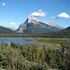 Riding home along the Trans-Canada, getting close to Banff.  (Mt Rundle and Vermillion Lakes)