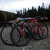 Bikes all loaded up with skis