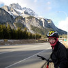 Megan and her fancy new spotted Russian-peasant style balaclava on the ride from Banff back to Canmore