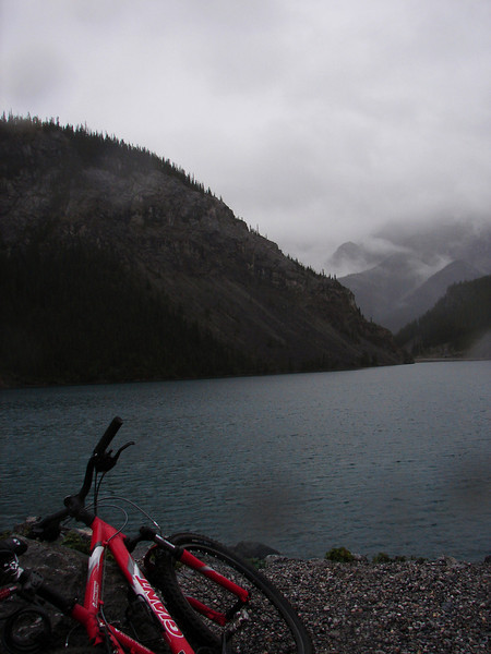At Whiteman's Pass - windy and raining - looking away from town.  It takes just under an hour to bike here from home.