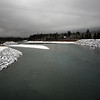 07 December 2008 - Bow River in the snow, the mountains lost in cloud