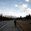 Riding back to Canmore along the Trans-Canada Highway