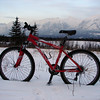 18 Dec 2008 - Biking along the powerlines, the view out across Canmore towards Mt Lady Mac