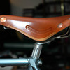 Newly installed on the Schwinn, here is  the beautiful Brooks Pro Honey before acquiring its lovely patina!